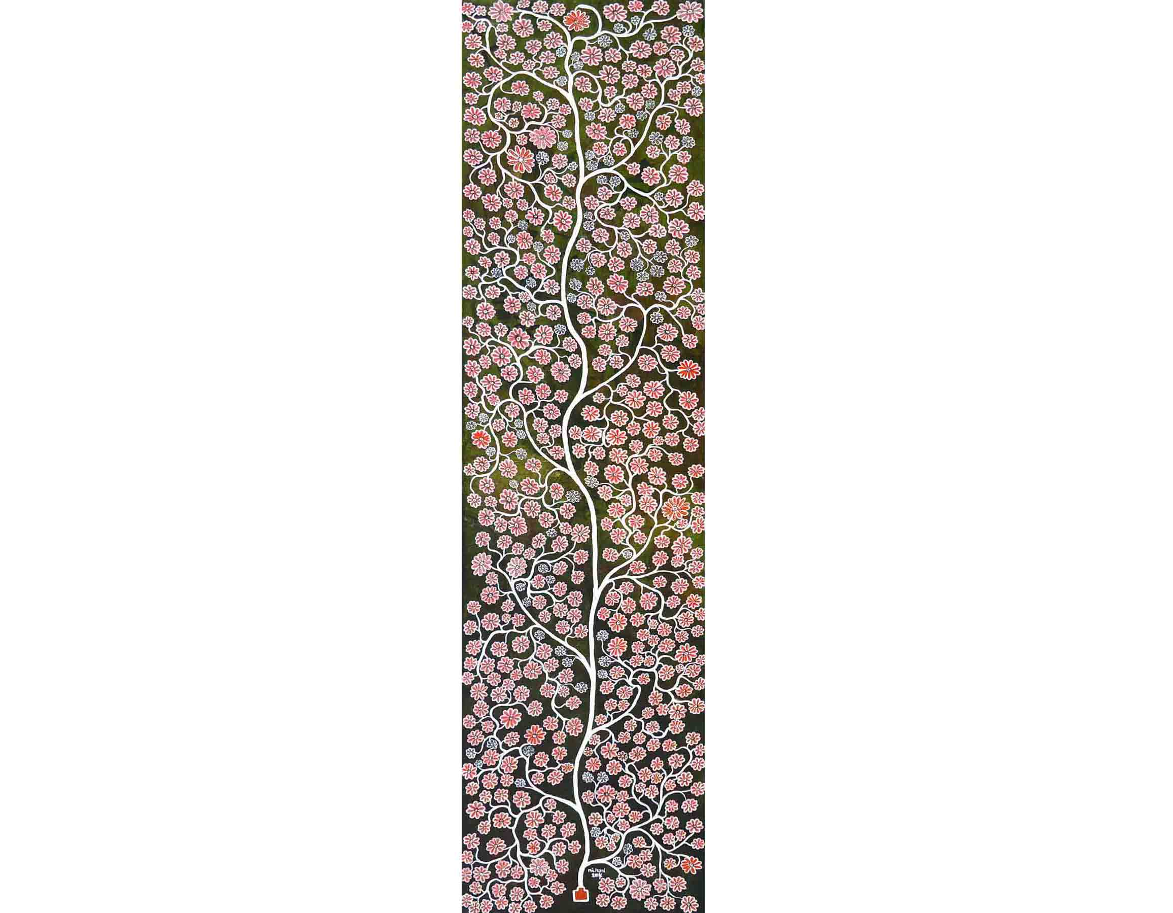 Pink Flowers, 200 x 50 cm, 2014, Acrylic on Canvas