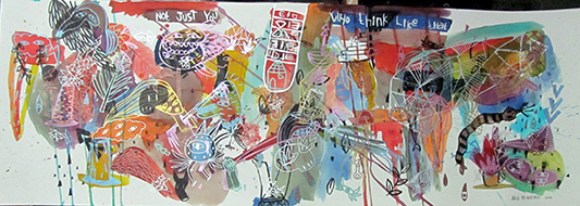 Intention to Die Young, 100 x 35 cm, 2014, Ink on paper