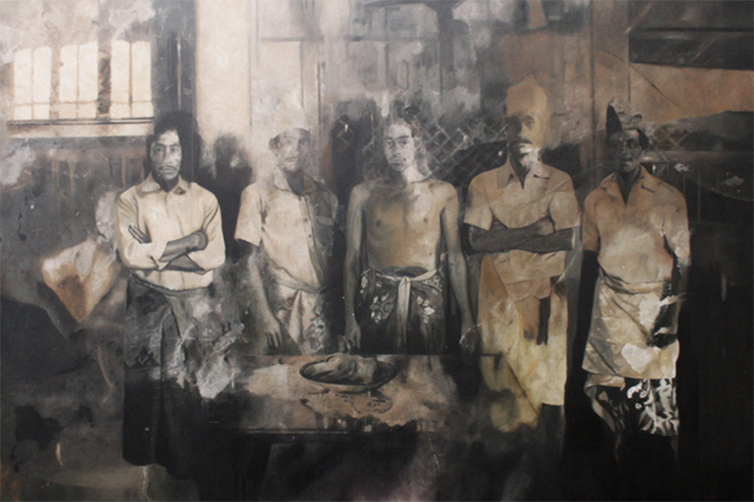 Portrait of Me, Onda, and Brothers, 200 x 300 cm, 2016, Oil on Canvas