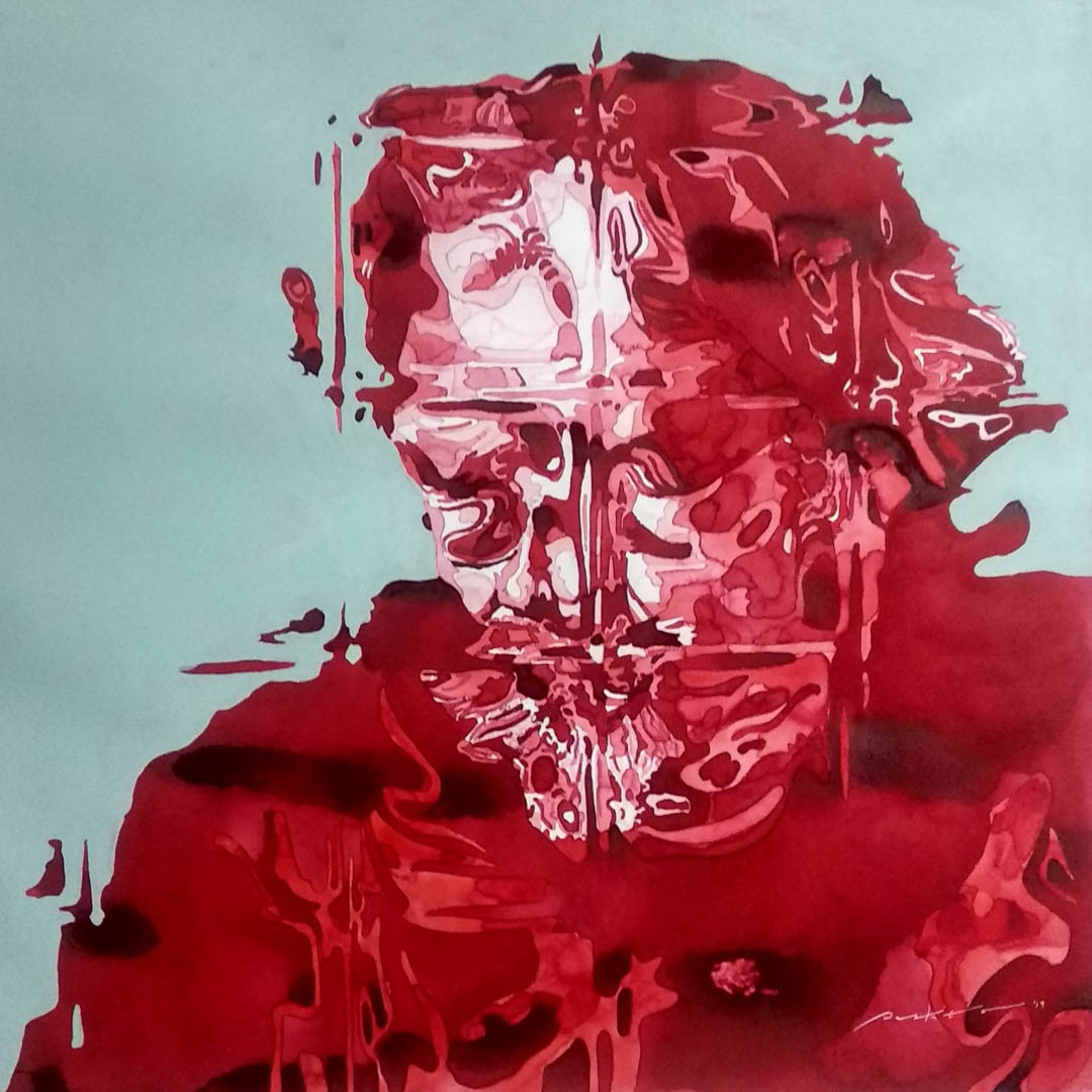 Behind the Scene #6 (Alejandro G. Inarritu), 51 x 51 cm, Watercolor, Acrylic on paper (2019).