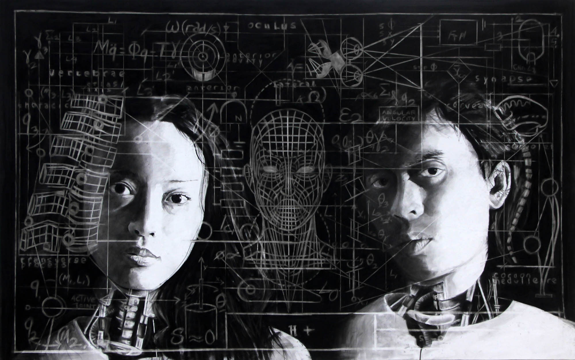 Dalam Angan Agenda Kemajuan #2, 250 x 150 cm, 2016, Charcoal on Canvas