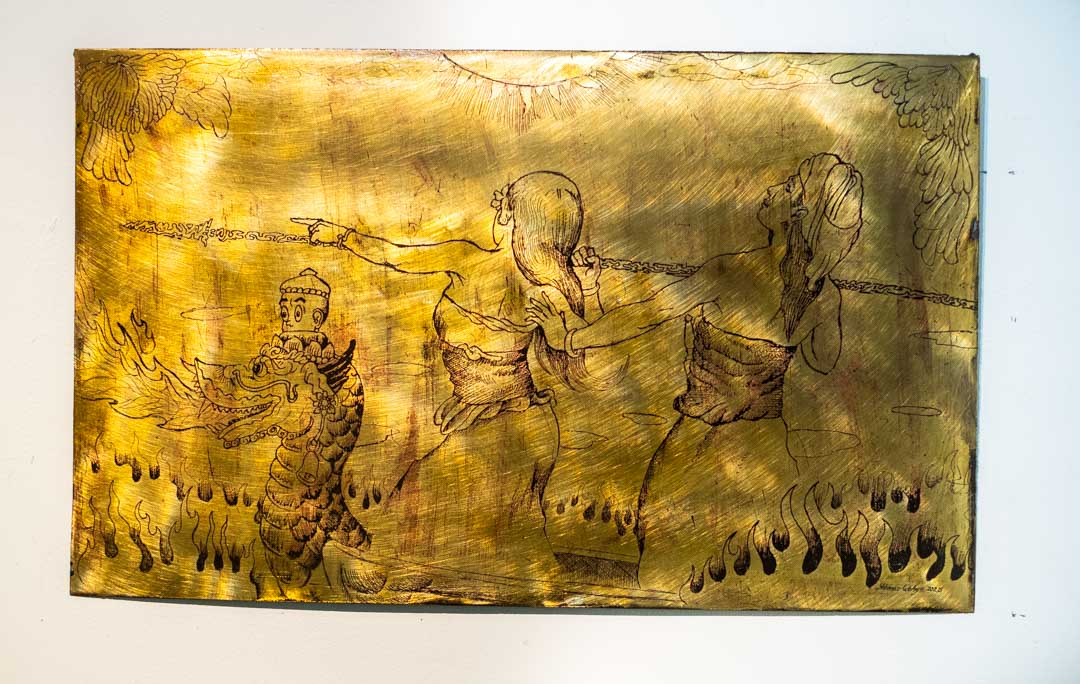 Di Antara Mangir dan Pambayun, etching on brass 60 x 36cm (2020).