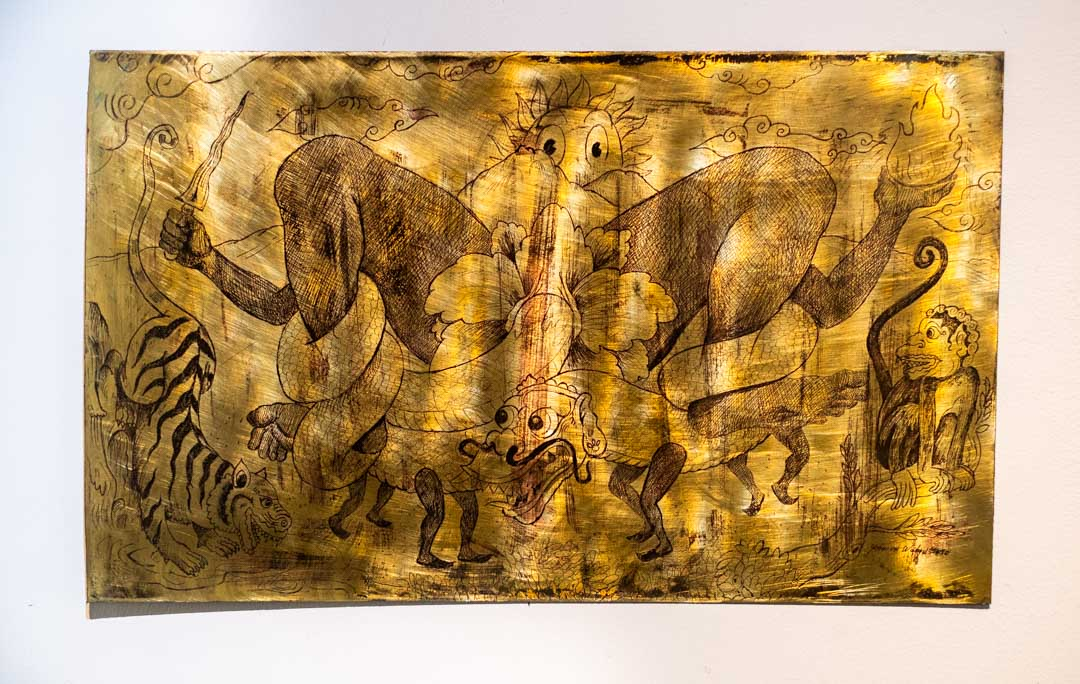 Lahir Naga, etching on brass 60 x 36cm (2020).