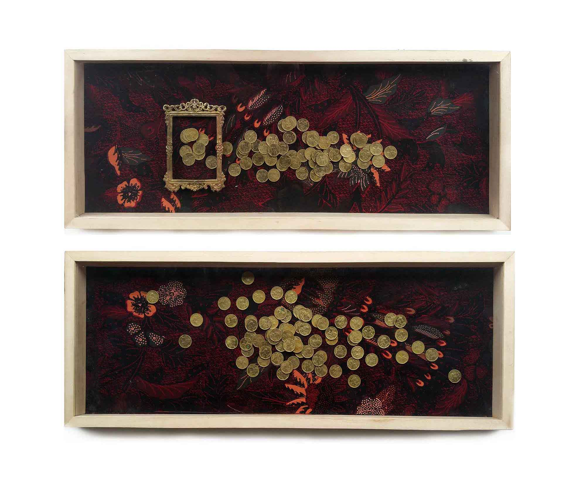 Engon, @73 x 28 cm, 2panels, 2017, Brass Coin, Batik, Brass Frame, and Wooden Frame