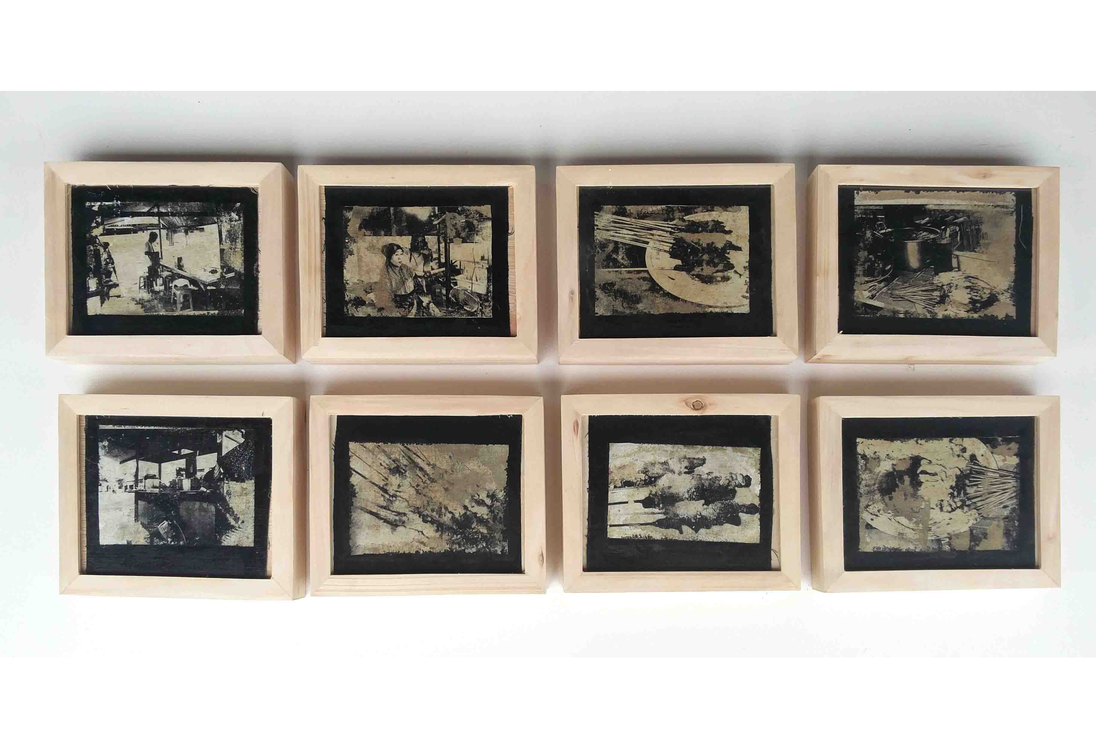 Nyai Ro, @20 x 7 cm, 8 Panels, 2017, Monoprint on Paper and Wooden Frame