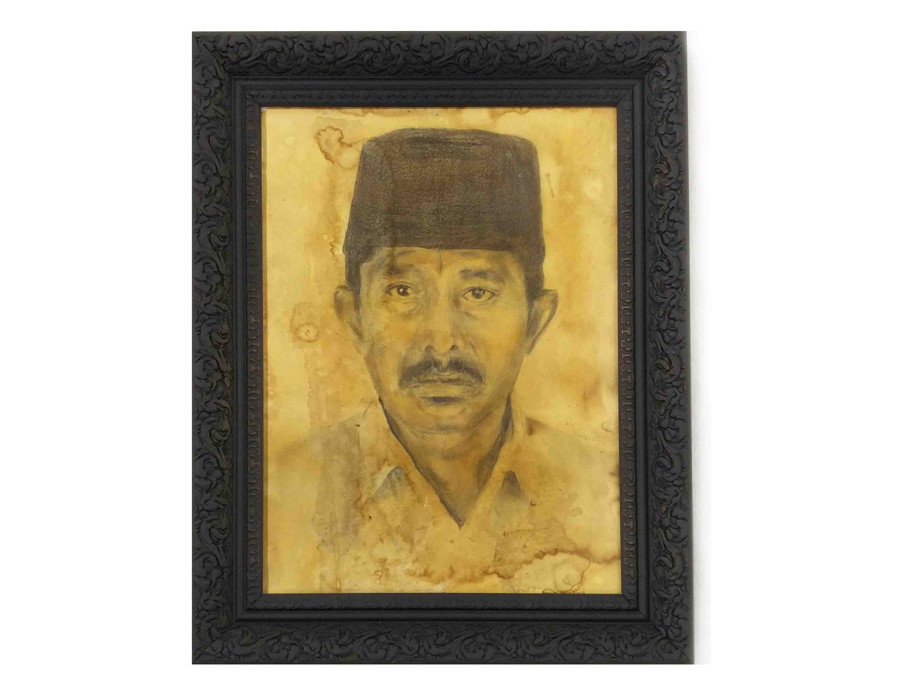 Paman, 40 x 50 cm, 2017, Tobacco Juice painting and Wooden Frame