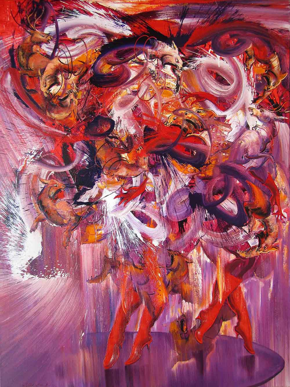 Dancing with The Lion, 200 x 105 cm, 2014, Oil on Canvas