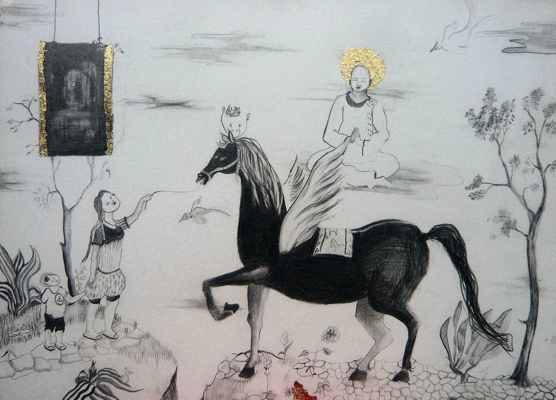Flying Horse, 50 x 70 cm, 2011, Pencil and Plated Gold on Handmade Paper