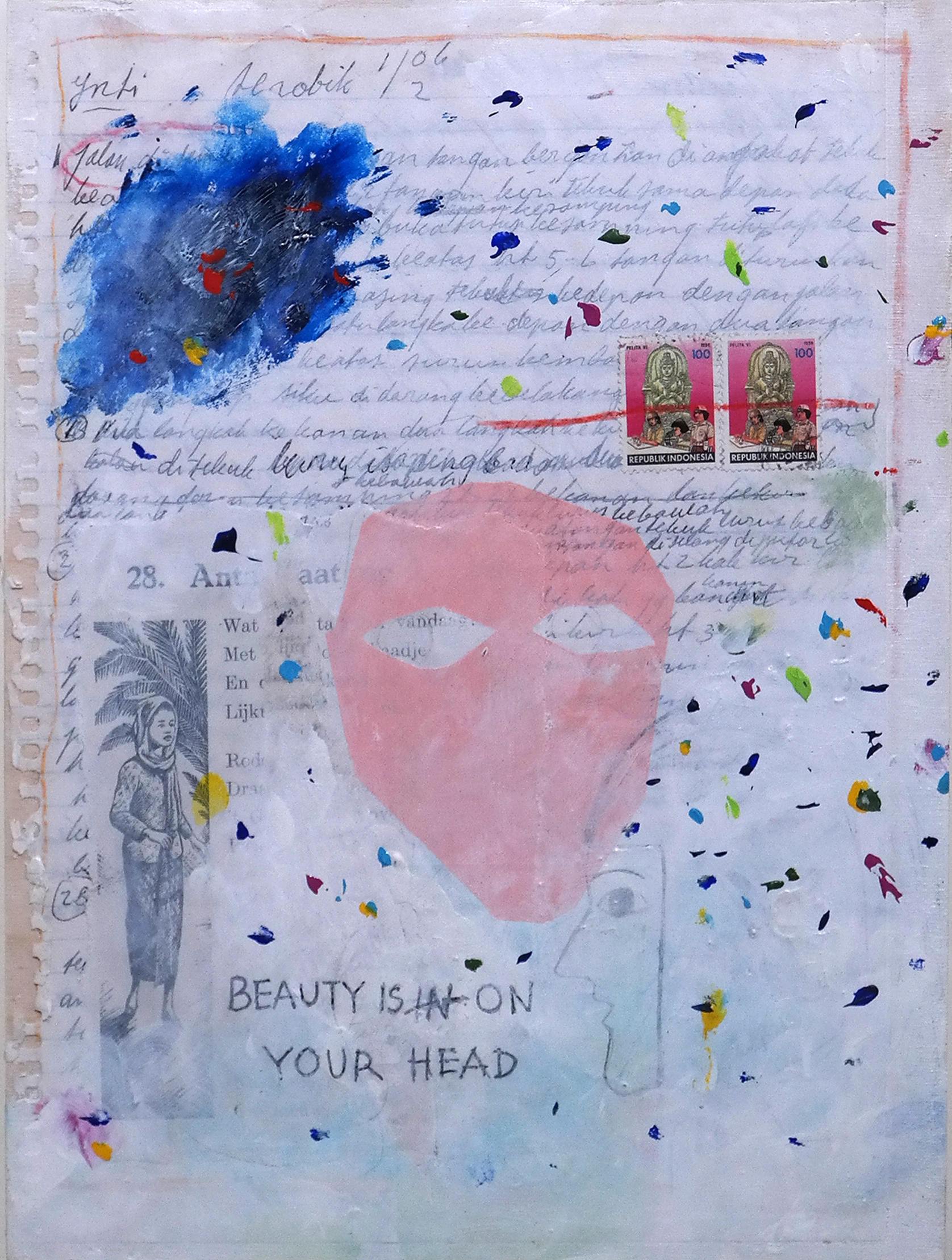 Beauty is on your Head, 38 x 47 cm, 2016, Acrylic Paint, Old Stamps, Paper on Plywood