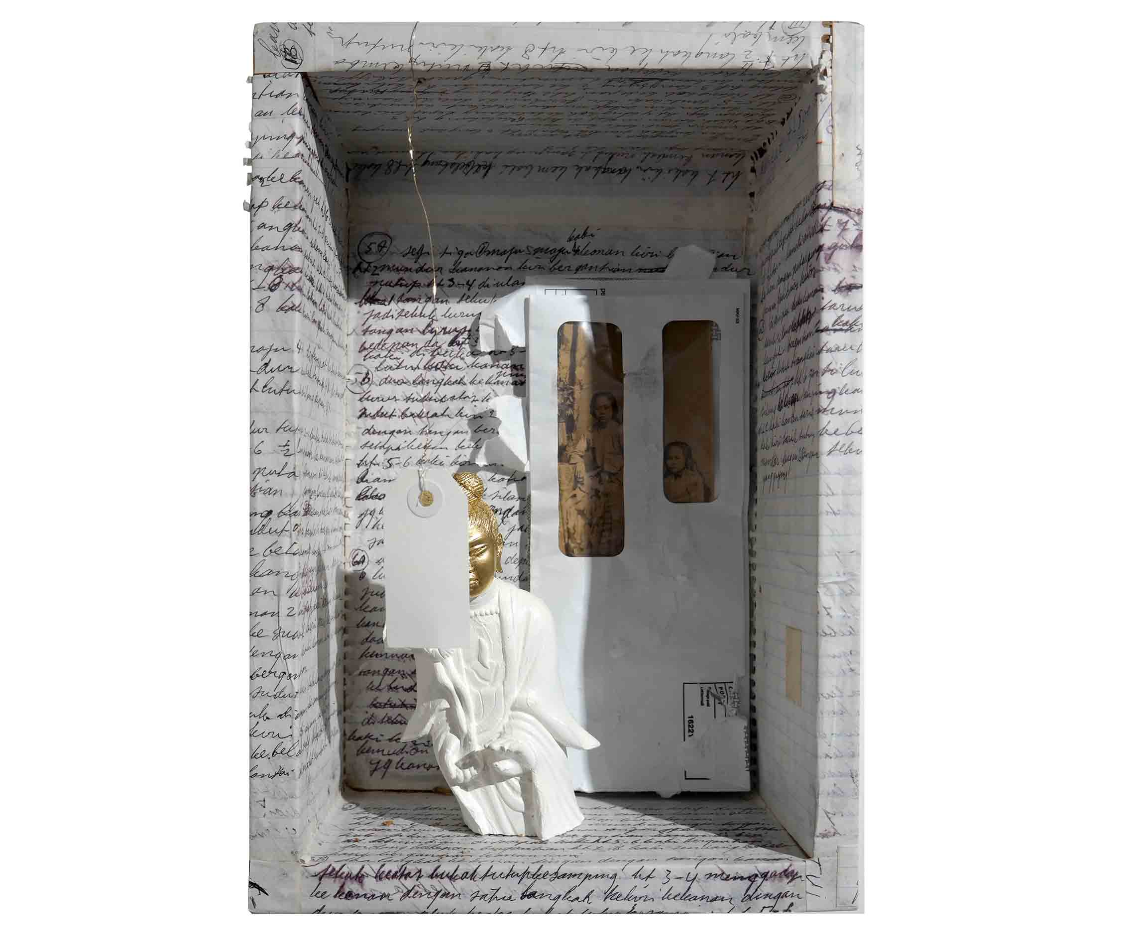 Forgotten Goddess, Variable Size, 2016, Wood Box,Paper, Envelopes, Old Post Card, Wood Statue,Gold Leaf, Acrylic Paint
