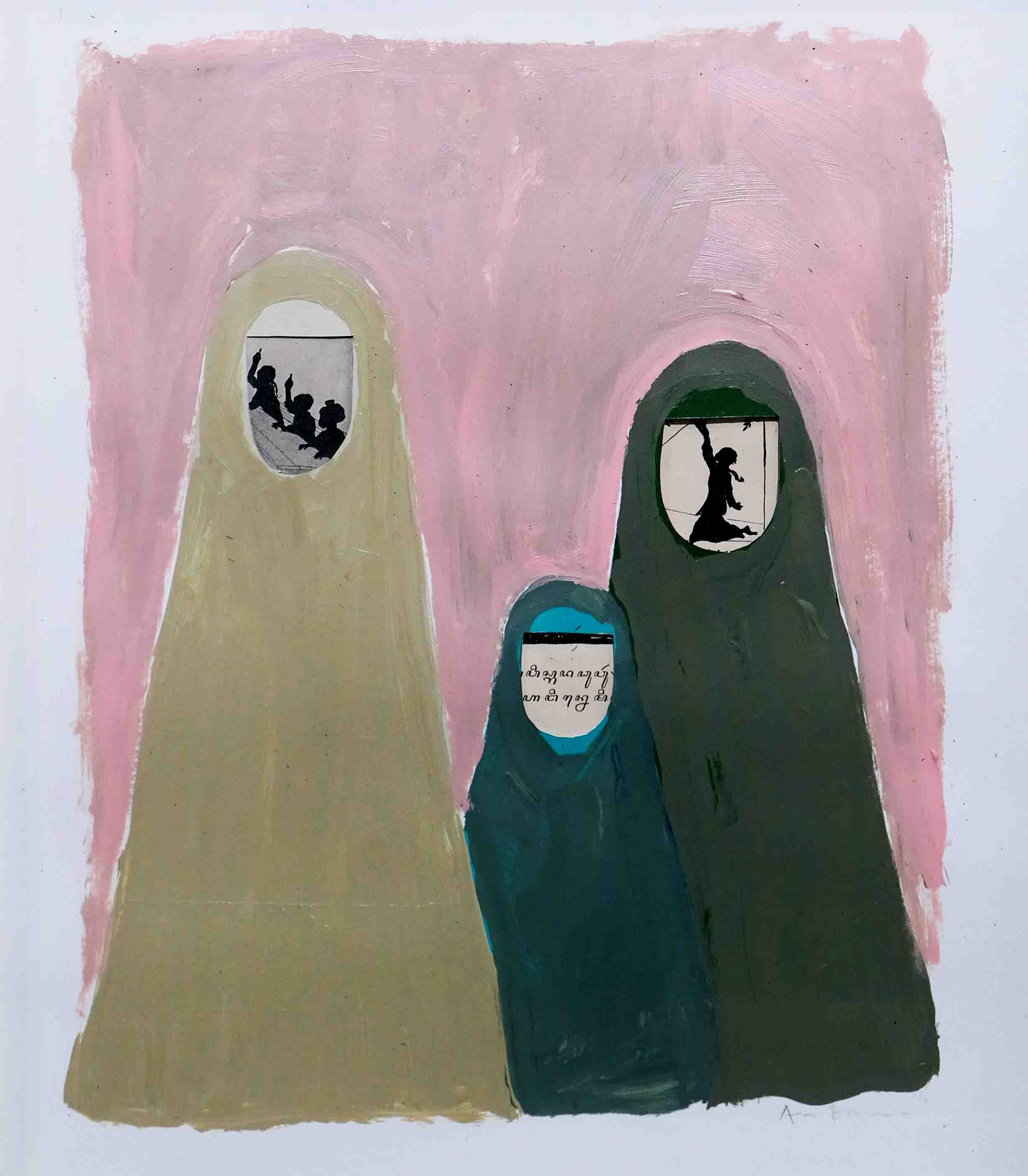 Sisterhood #2, 46 x 38 x 3 cm, 2016, Acrylic Paint, Old Paper on Paper