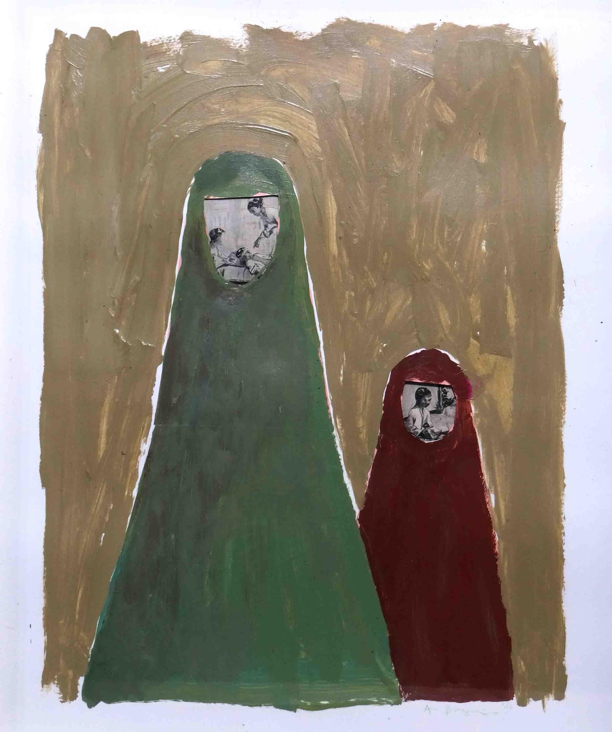 Sisterhood #3, 46 x 38 x 3 cm, 2016, Acrylic Paint, Old Paper on Paper