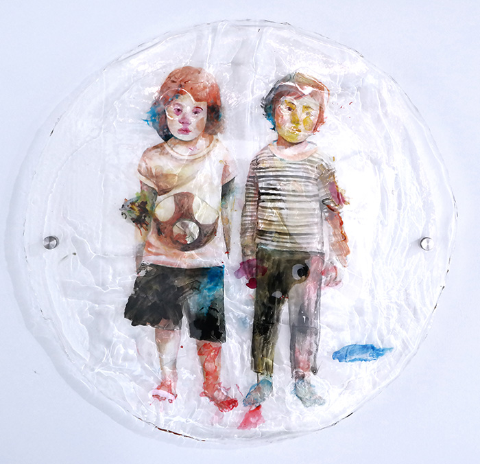 Secret Gesture #3, diameter 84 cm, 2017, Ink, Acrylic in Resin, Bolt & Nut
