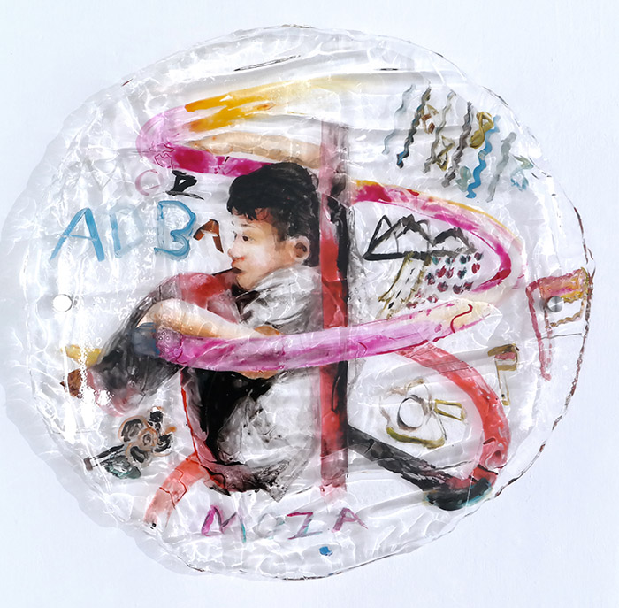 Secret Gesture #4, diameter 84 cm, 2017, Ink, Acrylic in Resin, Bolt & Nut
